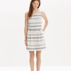 Madewell Striped Overlay Linen Blend Grey Dress
